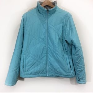 Columbia Light Blue Jacket Zip Up Quilted Sz XL